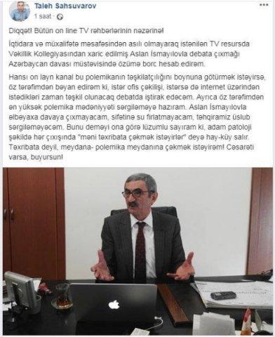 """Baş redaktor Aslan İsmayılovu """"duel""""ə səsləyir"""