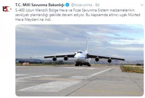 S-400-ləri daşıyan 6-cı təyyarə Ankaraya gəldi