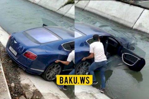 """Azərbaycanda tanınmış iş adamının övladları """"Bentley"""" avtomobili ilə su kanalına düşüb"""