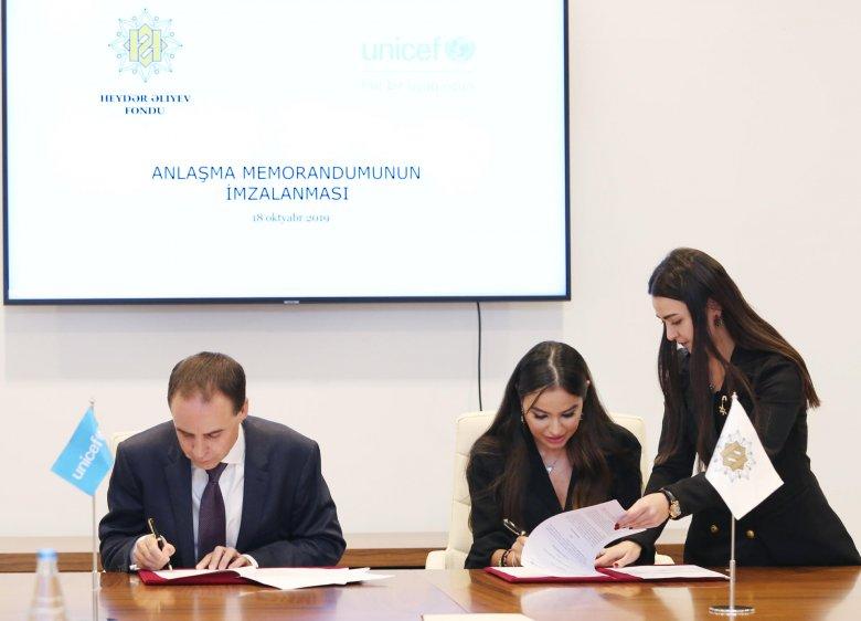 Heydər Əliyev Fondu ilə UNİSEF memorandum imzalayıb