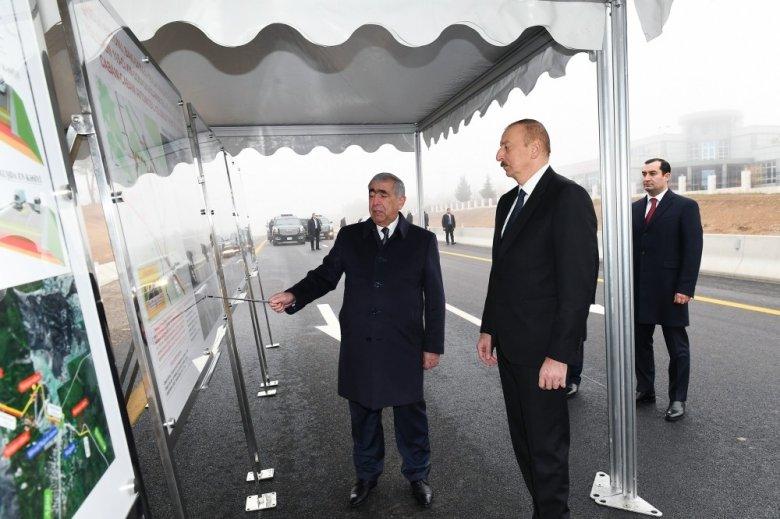 """Prezident Şamaxıda yol və """"Asan Həyat""""ın açılışlarını edib"""