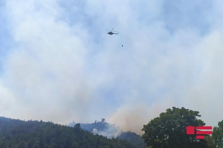 Dağlıq ərazilərdə yanğın başlayıb - FHN-nin helikopterləri də yanğının söndürülməsinə cəlb olunublar